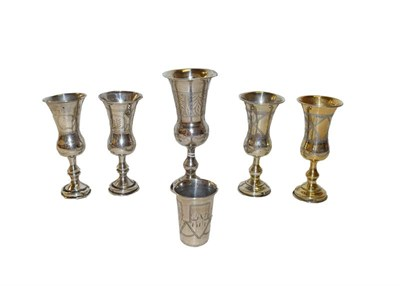 Lot 21 - Five various Edward VII or George V silver or silver gilt Kiddush cups, each of typical form,...