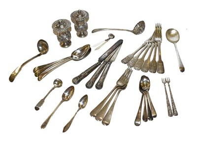 Lot 23 - A collection of assorted silver flatware, including six Fiddle pattern dessert forks, engraved with