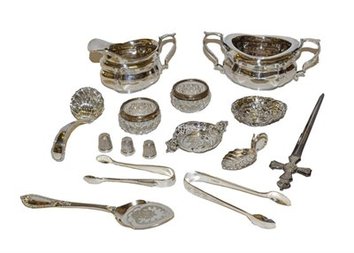 Lot 24 - A collection of assorted silver and silver plate, the silver including a commemorative paper knife