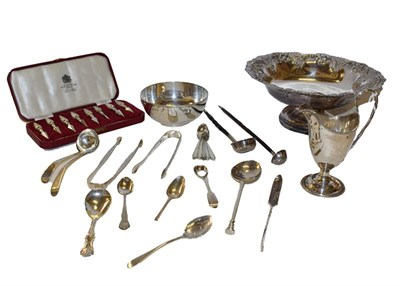 Lot 25 - A collection of silver and silver plate, the silver including a James I silver seal top spoon,...