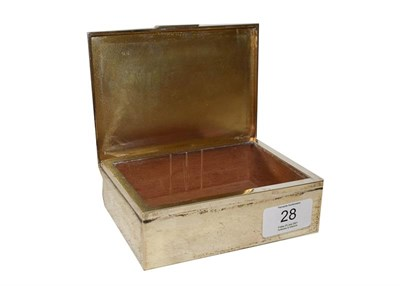 Lot 28 - An Elizabeth II silver cigarette box, by S J Rose and Son, London 1959, oblong, the hinged...
