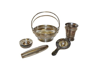 Lot 32 - A collection of silver comprising a silver basket, possibly Polish, mid 20th century, 14cm...
