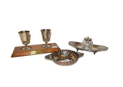 Lot 34 - A collection of silver comprising a pair of Elizabeth II goblets, by Wakely & Wheeler, London,...
