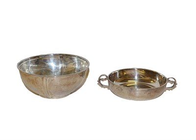 Lot 36 - A silver two-handled bowl, by Adie Bros, Birmingham, 1925, 13cm diameter together with a silver...