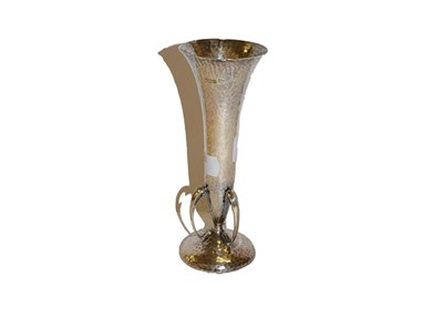Lot 38 - An Edwardian silver Arts & Crafts style vase, by Walker & Hall, Sheffield, 1908, planished...