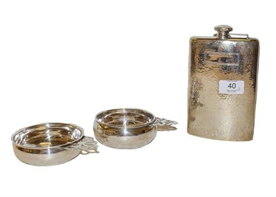 Lot 40 - An American silver flask and two porringers, the flask by Webster Company, one porringer by...