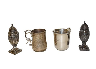 Lot 52 - A collection of silver, comprising a pair of neo-classical pepperettes, by Hawksworth, Eyre &...