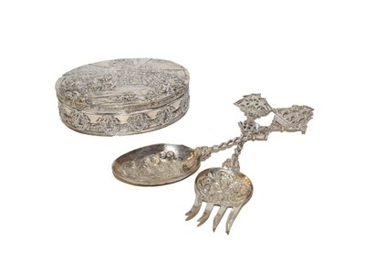 Lot 53 - A Continental silver box and a pair of serving spoons, probably German, late 19th/early 20th...