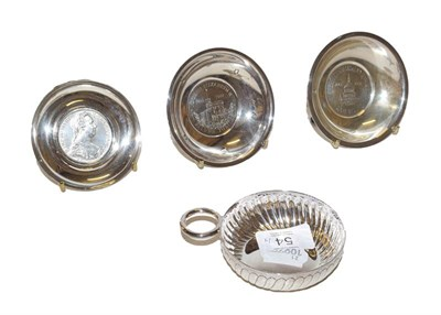 Lot 54 - Three modern silver dishes and wine taster  of typical form, each dishes circular, one...