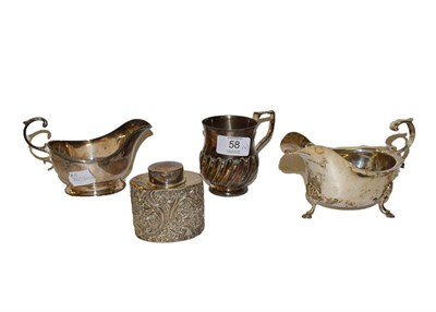 Lot 58 - A collection of silver, comprising two differing sauce boats, one on conforming foot, the other...
