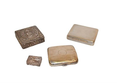 Lot 67 - Four various silver boxes, comprising an engine turned oblong box, London. 1924, a cigarett e case