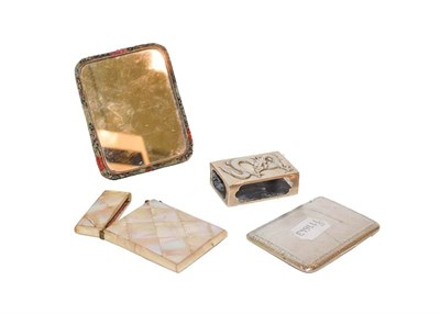 Lot 70 - Four items comprising an oblong silver cigarette case with engine-turned decoration and...