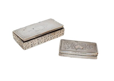 Lot 71 - Two 19th century, variously decorated oblong silver snuff boxes, one with Town mark possibly a P or