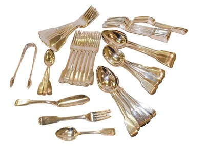 Lot 72 - A collection of silver and silver plate flatware in the Fiddle pattern, variously engraved, the...