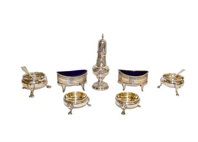 Lot 92 - A collection of assorted silver condiment items, comprising two similar George III salt...