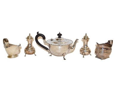Lot 93 - A collection of silver, including a teapot, by Mappin & Webb, Birmingham. 1922, 22.5cm wide...