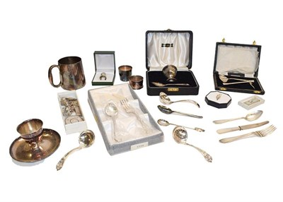 Lot 95 - A collection of assorted silver and silver plate, the silver comprising assorted flatware, a...