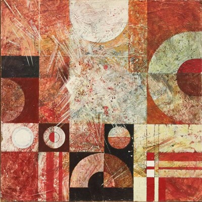 Lot 1000 - Gerald French (contemporary) Red and Brown with White Square, acrylic on board, unframed, 61cm...