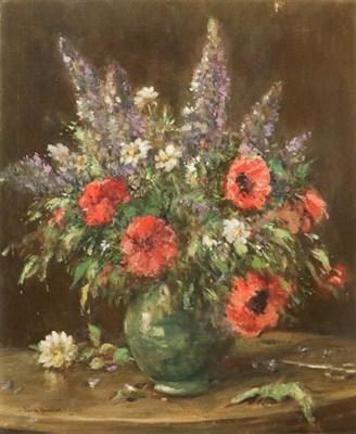 Lot 1001 - Owen Bowen ROI, PRCamA (1873-1967), Still life, signed, oil on canvas, 76.5cm by 63.5cm (unframed)