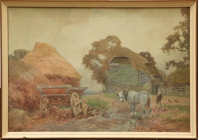 Lot 1003 - E.W Haselhurst (1866-1949) A cottage near a river, signed watercolour, 34.5cm by 52cm, together...