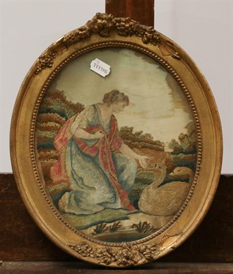 Lot 1012 - Two Georgian embroidered and painted silk pictures