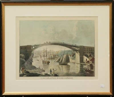 Lot 1015 - Coloured engraving, 'The South West Prospect of the City of Durham', 31.5cm by 82.5cm; together...