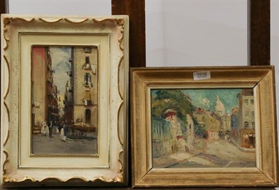 Lot 1016 - European School (early 20th century) Village view, indistinctly signed, oil on canvas, together...