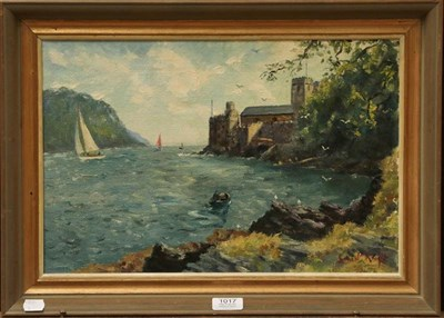 Lot 1017 - Ernest Knight (20th century) 'Dartmouth Castle from Gunfield Point', signed and dated 1976, oil...