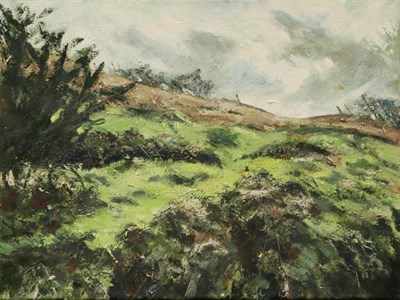 Lot 1018 - Simon James Gilpin (20th century) 'Passing Rain', signed, oil on canvas, 46cm by 61cm, with another