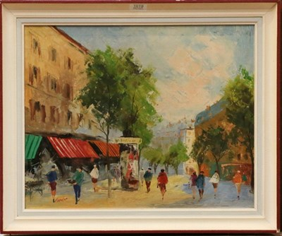 Lot 1019 - Cordet (Contemporary), City street view, signed, oil on canvas 40cm by 50cm