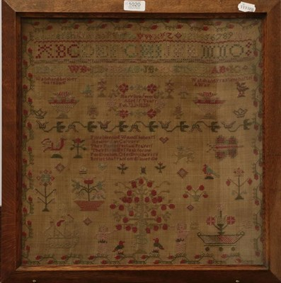 Lot 1020 - Two 19th century needlework samplers, four embroidered chinoiserie panels, machine embroidered...
