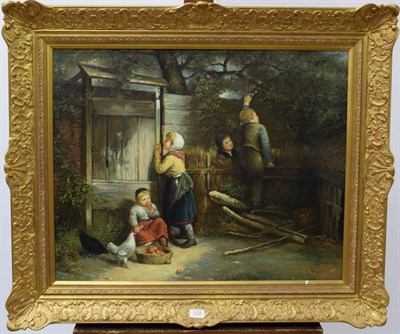Lot 1033 - R.Dobson (Contemporary) Children picking apples, signed oil on canvas, 60cm by 75cm