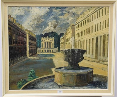 Lot 1034 - John Bowes RCA, 20th Centurty, A view of Haultney street, Bath and the Holburne museum, signed...