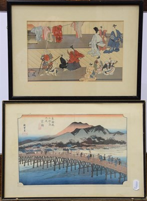 Lot 1038 - Six Japanese Meiji period woodblock prints together with a Japanese text with illustrations and...