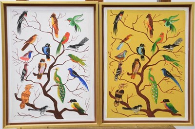 Lot 1040 - A pair of contemporary pictures of birds in a tree, mixed media on canvas, 47cm by 34.5cm (2)