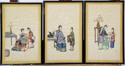Lot 1042 - Ten early 19th century Chinese watercolours on pith paper, depicting figures and attendants in...