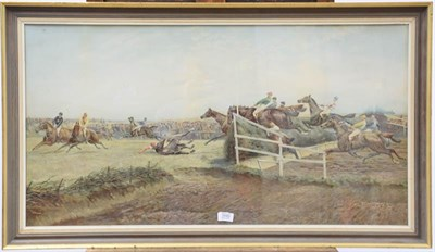 Lot 1045 - After Geoffrey Douglas Giles (1857-1923) The last jump, hand embellished print, dated (18)92,...