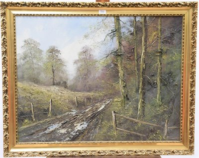 Lot 1046 - Contemporary, oil on canvas of a forest 17cm by 91cm