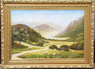 Lot 1054 - Three modern oils, indistinctly signed, mountain and woodland landscapes of varying sizes