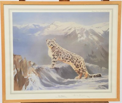 Lot 1055 - A signed oil on canvas of a continental street view together with two snow leopard prints, one...