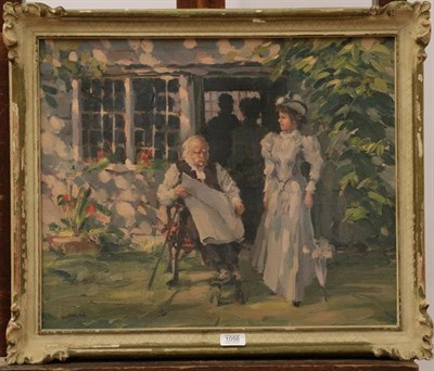 Lot 1056 - * Jonas (20th century) A lady and gentleman in a garden, signed, oil on canvas, 44.5cm by 54.5cm