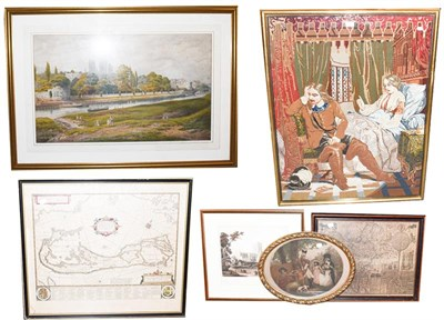 Lot 1058 - A large Victorian woolwork panel, interior scene and figures, 100cm by 75cm, a print after...