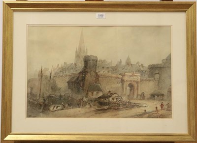 Lot 1059 - Paul Marny (1829-1914) Gateway to Medieval town, Signed, watercolour, 37cm by 57.5cm