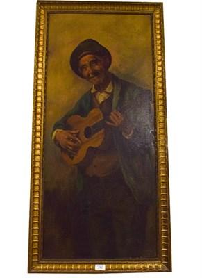 Lot 1062 - Raffaelle Frigerio, b.1875 Italian, Gaily the troubadour, oil on canvas, 101cm by 44cm, this...