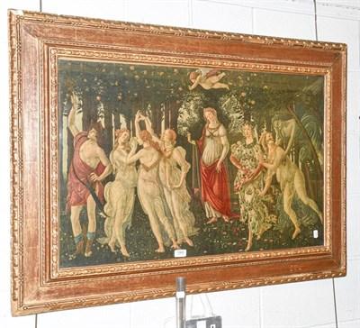Lot 1065 - Premavera, after Sandro Botticelli print in a wide gilt frame, 57cm by 88cm