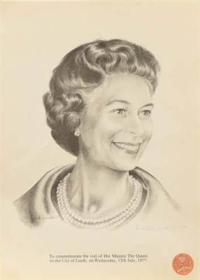 Lot 1067 - Two works of Royal interest, signed and dated 1987 together with a print of Prince Charles with...