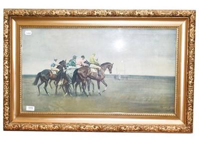 Lot 1072 - After Munnings, Jockeys starting a race, print 39cm by 72cm