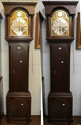 Lot 1097 - A George III oak eight-day long case clock, 13'' arch brass dial, signed G. Chambers, Gateshead