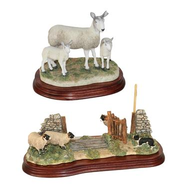 Lot 2 - *  Border Fine Arts 'Blue Faced Leicester Ewe and Lambs' (Style Two), model No. B0741 by Ray Ayres