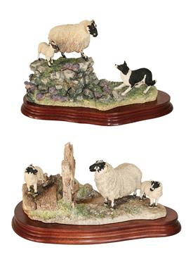 Lot 15 - *  Border Fine Arts 'Holding Her Ground' (Ewe, Lamb and Border Collie), model No. B0198 by Ray...